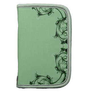 Ornate floral green swirl damask pattern planner