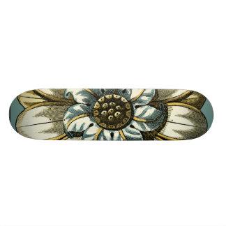 Ornate Floral Medallion on Light Blue Background 18.1 Cm Old School Skateboard Deck