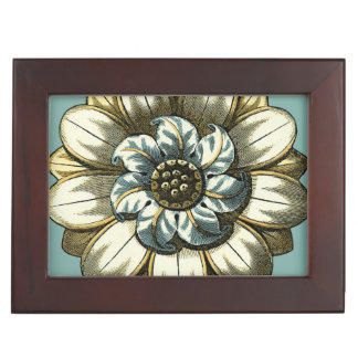 Ornate Floral Medallion on Light Blue Background Keepsake Box