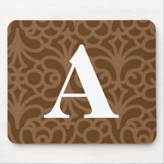 Ornate Floral Monogram - Letter A Mouse Pad