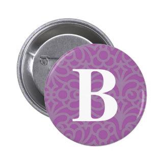 Ornate Floral Monogram - Letter B 6 Cm Round Badge