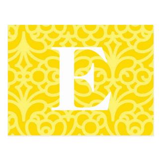 Ornate Floral Monogram - Letter E Postcard