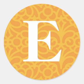Ornate Floral Monogram - Letter E Classic Round Sticker