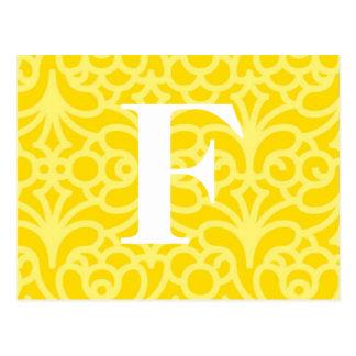 Ornate Floral Monogram - Letter F Postcard