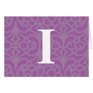 Ornate Floral Monogram - Letter I Cards