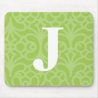 Ornate Floral Monogram - Letter J Mouse Pad