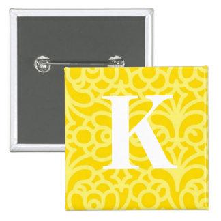 Ornate Floral Monogram - Letter K 15 Cm Square Badge