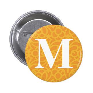 Ornate Floral Monogram - Letter M 6 Cm Round Badge