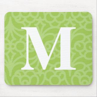 Ornate Floral Monogram - Letter M Mouse Pad
