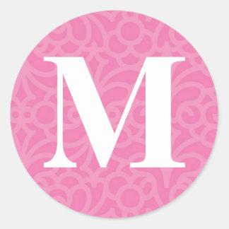 Ornate Floral Monogram - Letter M Round Sticker