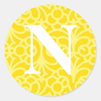 Ornate Floral Monogram - Letter N Round Sticker