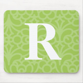Ornate Floral Monogram - Letter R Mouse Pad