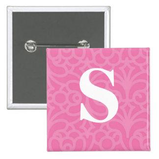 Ornate Floral Monogram - Letter S 15 Cm Square Badge