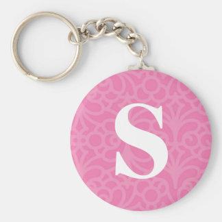 Ornate Floral Monogram - Letter S Basic Round Button Key Ring