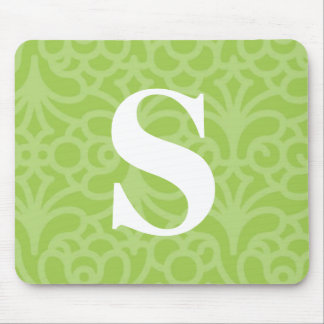 Ornate Floral Monogram - Letter S Mouse Pad