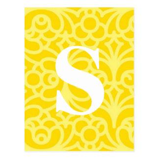 Ornate Floral Monogram - Letter S Postcard
