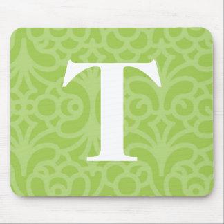 Ornate Floral Monogram - Letter T Mouse Pad