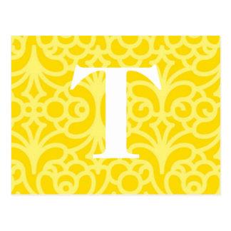 Ornate Floral Monogram - Letter T Postcard