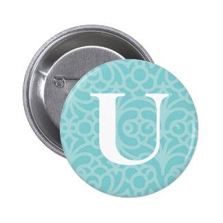 Ornate Floral Monogram - Letter U Pinback Buttons