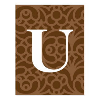 Ornate Floral Monogram - Letter U Post Cards