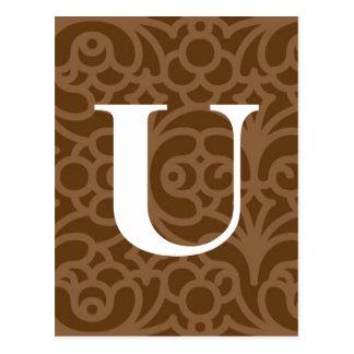 Ornate Floral Monogram - Letter U Postcard