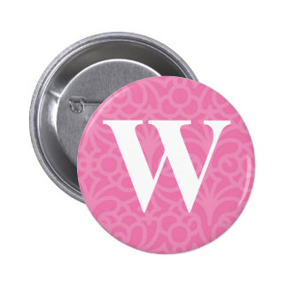 Ornate Floral Monogram - Letter W 6 Cm Round Badge