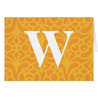 Ornate Floral Monogram - Letter W Greeting Card