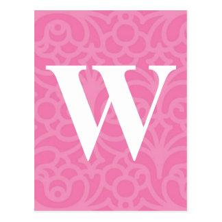 Ornate Floral Monogram - Letter W Postcard