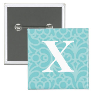 Ornate Floral Monogram - Letter X Button