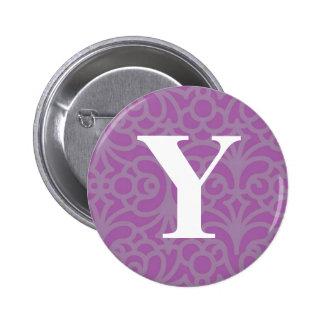Ornate Floral Monogram - Letter Y 6 Cm Round Badge