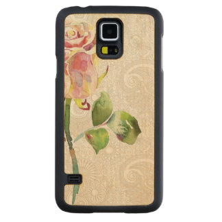 Ornate Floral Pattern With Pink Watercolor Rose Carved Maple Galaxy S5 Case