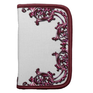 Ornate floral pink scroll swirl travel planner