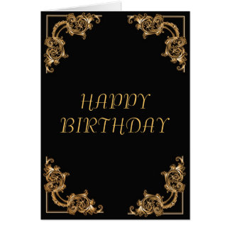 Ornate floral  swirl damask happy birthday card