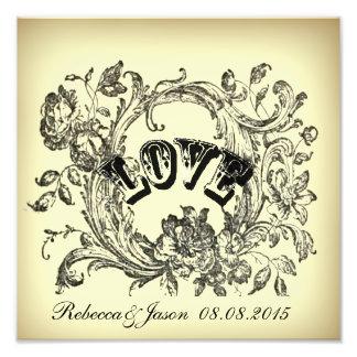 Ornate Flourish Swirls Vintage Wedding Photo