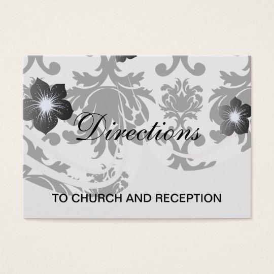 ornate formal black white damask business card