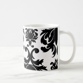 ornate formal black white damask coffee mug