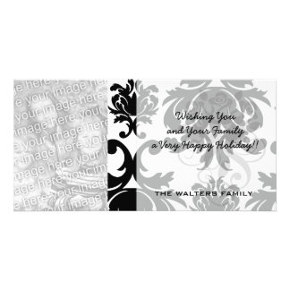 ornate formal black white damask customised photo card