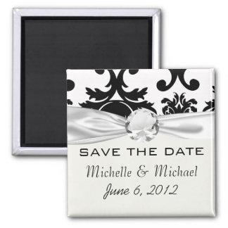 ornate formal black white damask magnets