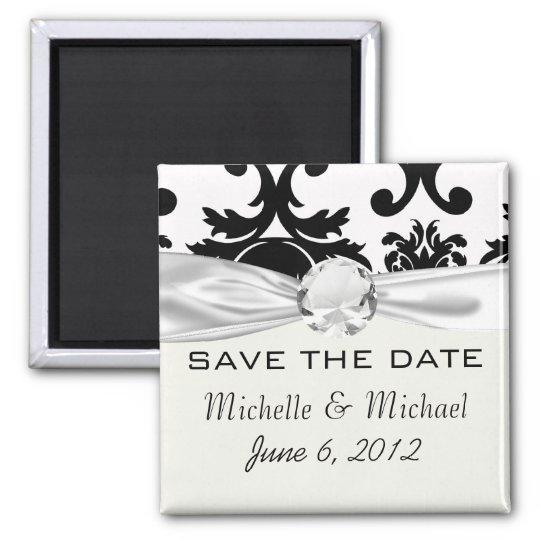 ornate formal black white damask magnet