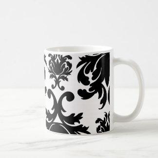 ornate formal black white damask coffee mugs