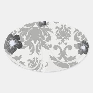 ornate formal black white damask oval sticker