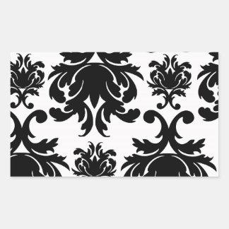ornate formal black white damask rectangular stickers