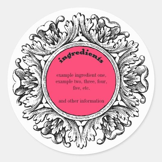 Ornate Frame Handmade Soap Ingredients Label Round Sticker