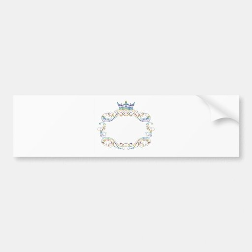 Ornate  Frame Medallion with Crown Bumper Sticker