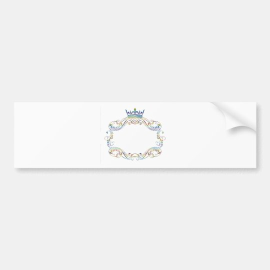 Ornate  Frame Medallion with Crown Bumper Sticker