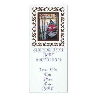 Ornate Framed Gondola in Venezia 10 Cm X 24 Cm Invitation Card