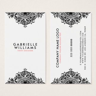 Ornate girly black ornament design business card