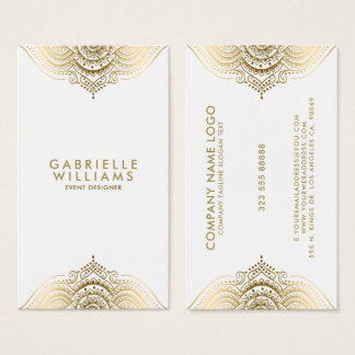 Ornate girly gold lace design business card