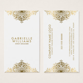 Ornate girly gold ornament design business card