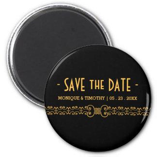 Ornate Gold Belt - Gold Black Save the Date Magnet